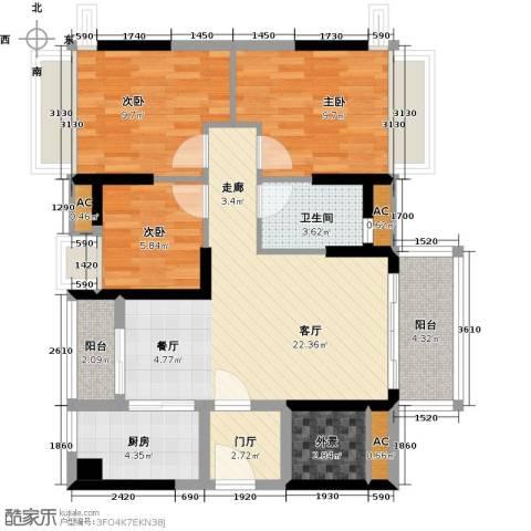 万科柏悦湾3室1厅1卫1厨89.00㎡户型图