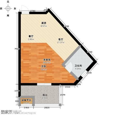 蓝海国际公寓1卫0厨52.00㎡户型图