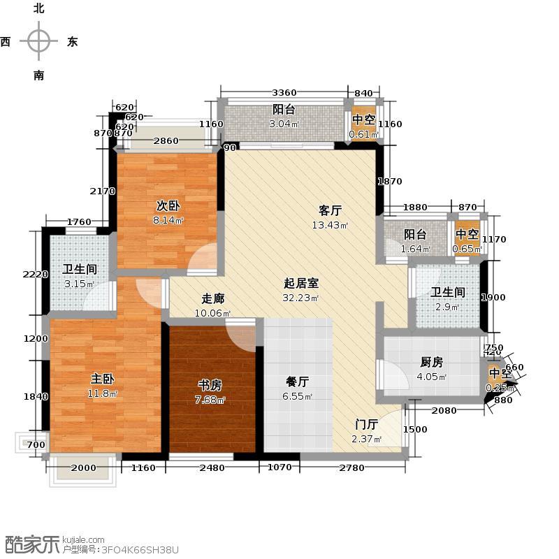 宏桂东�87.82㎡87平2+1房户型3室2厅2卫