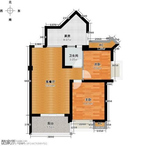 永鸿厦门湾1号2室1厅1卫1厨88.00㎡户型图