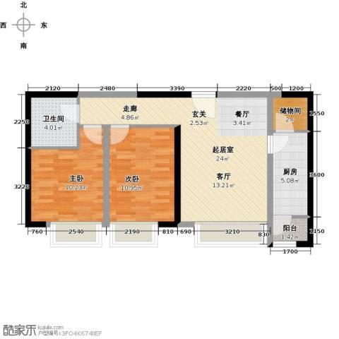 瞰海品筑2室0厅1卫1厨95.00㎡户型图
