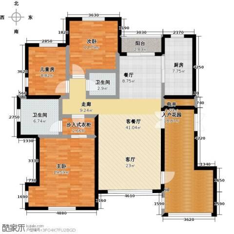 绿地大溪地3室1厅2卫1厨141.00㎡户型图
