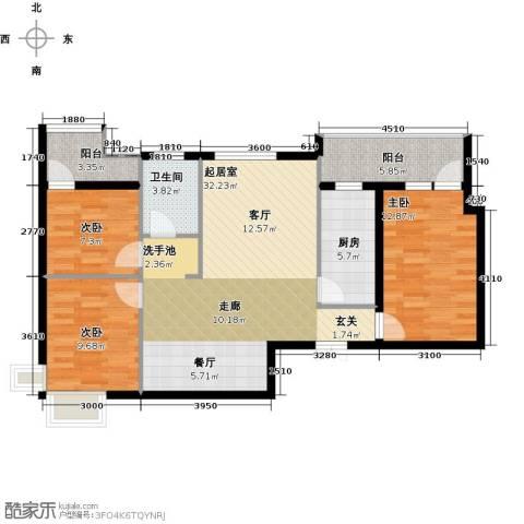 鹏程金色城市3室0厅1卫1厨97.00㎡户型图