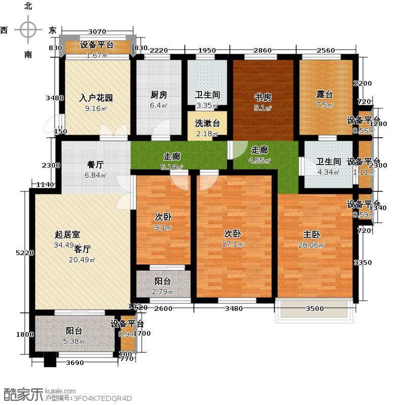 紫郡丽舍F2户型4室2厅1卫