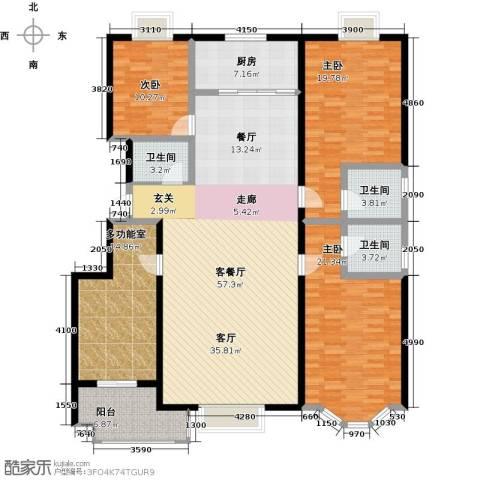 裕华铭珠3室1厅3卫1厨180.00㎡户型图