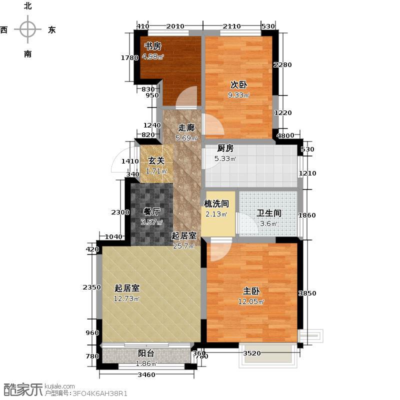 万科东海岸90.00㎡塞班风情 三室两厅一卫户型3室2厅1卫
