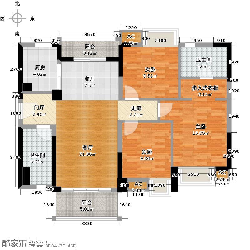 万科柏悦湾116.00㎡E户型116平四房两厅户型3室2厅2卫