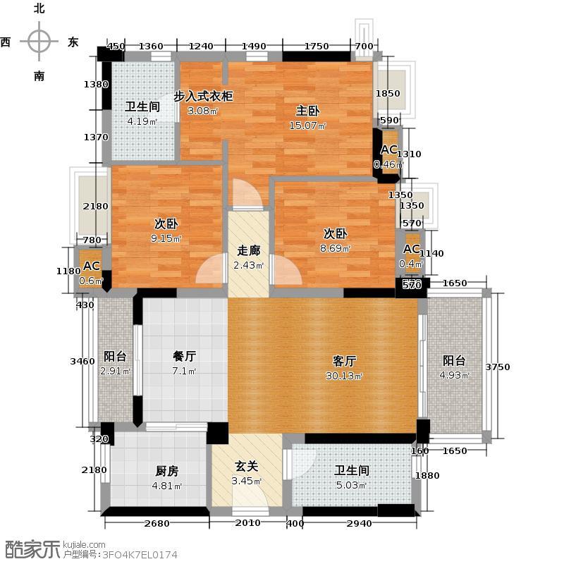 万科柏悦湾109.00㎡C户型109平三房两厅户型3室2厅2卫