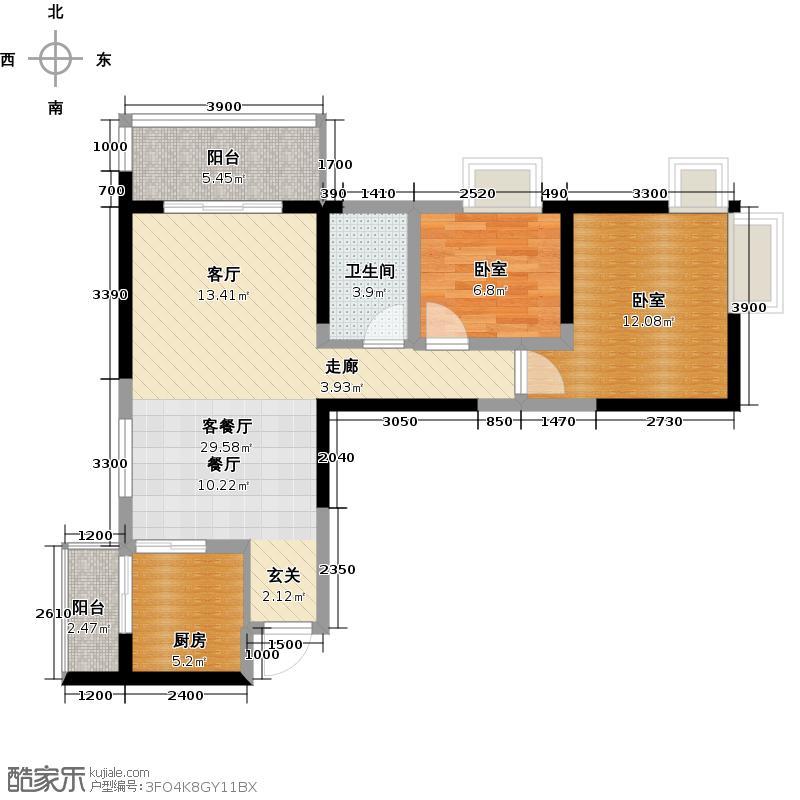 布鲁斯国际新城户型1厅1卫1厨