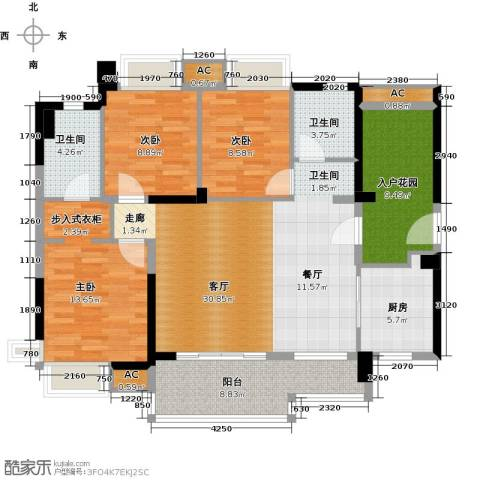 万科柏悦湾3室1厅2卫1厨119.00㎡户型图