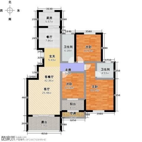 中国铁建・原香漫谷3室1厅2卫1厨129.00㎡户型图