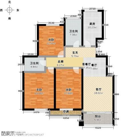中国铁建・原香漫谷3室1厅2卫1厨131.00㎡户型图