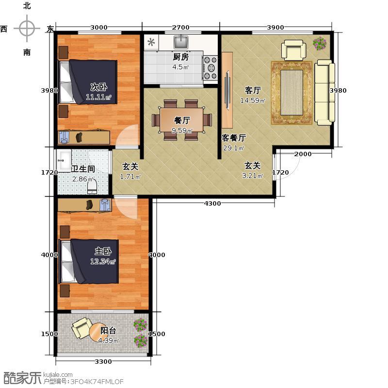 龙柏水庭户型2室1厅1卫1厨