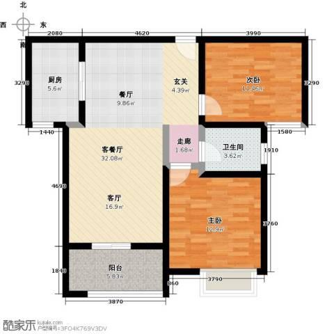 美的翰城2室1厅1卫1厨82.00㎡户型图