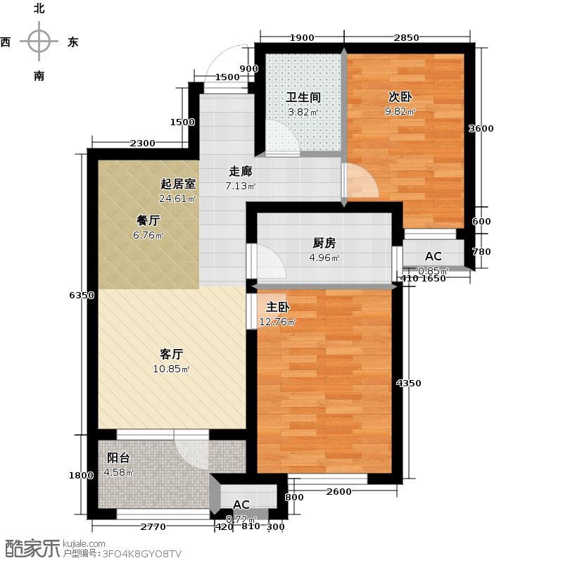 永定河孔雀城英国宫83.00㎡S8户型 两室两厅一卫户型2室2厅1卫
