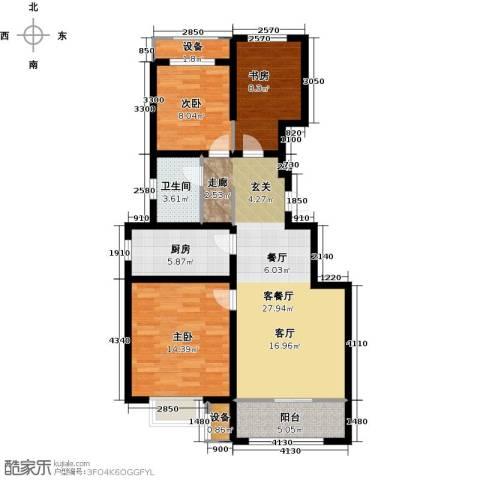 旭辉朗悦湾3室1厅1卫1厨88.00㎡户型图