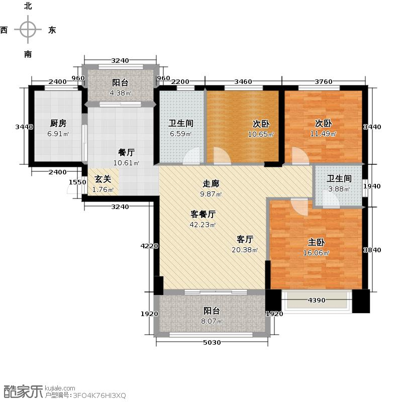 祥隆理想城124.00㎡D3户型3室2厅2卫