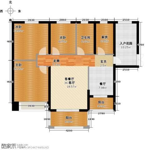祥隆理想城3室1厅1卫1厨123.00㎡户型图