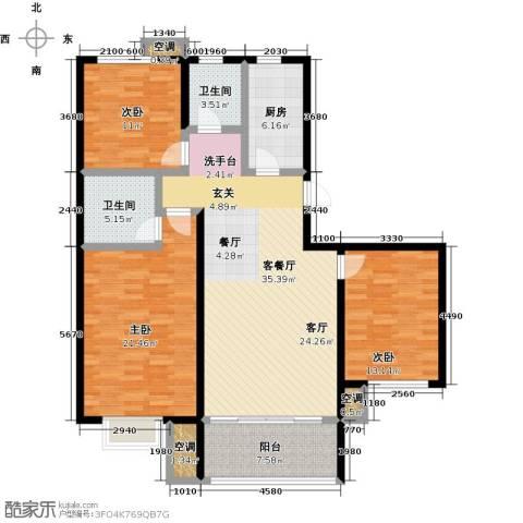 中国铁建・原香漫谷3室1厅2卫1厨118.00㎡户型图