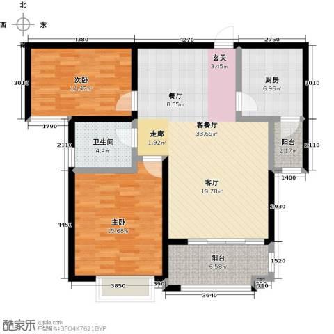 中茵龙湖国际2室1厅1卫1厨116.00㎡户型图