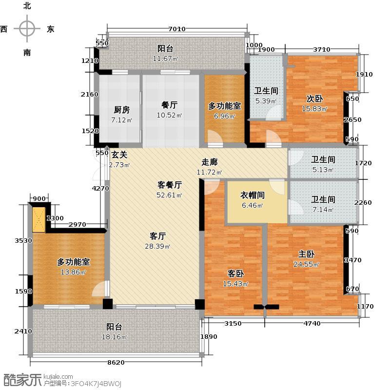 格力海岸206.00㎡二期E4户型约206平米五房两厅三卫户型5室2厅3卫