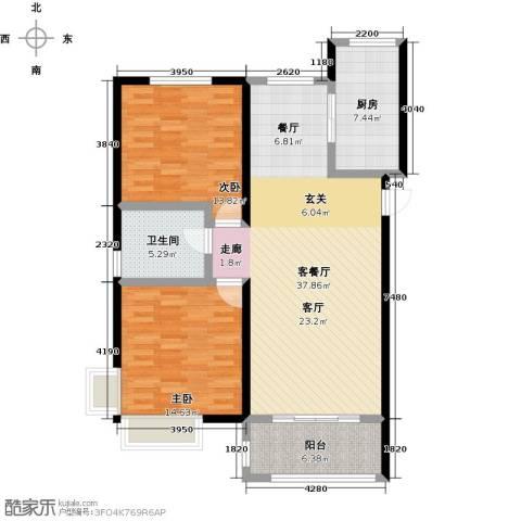 中国铁建・原香漫谷2室1厅1卫1厨97.00㎡户型图