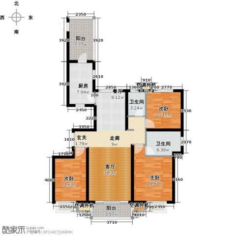 河北国际商会广场3室1厅2卫1厨135.00㎡户型图