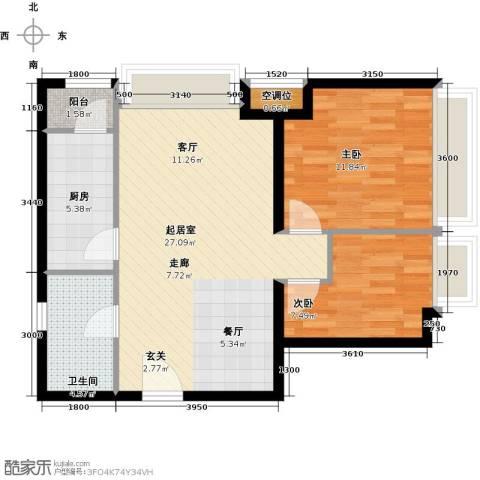 瞰海品筑2室0厅1卫1厨88.00㎡户型图