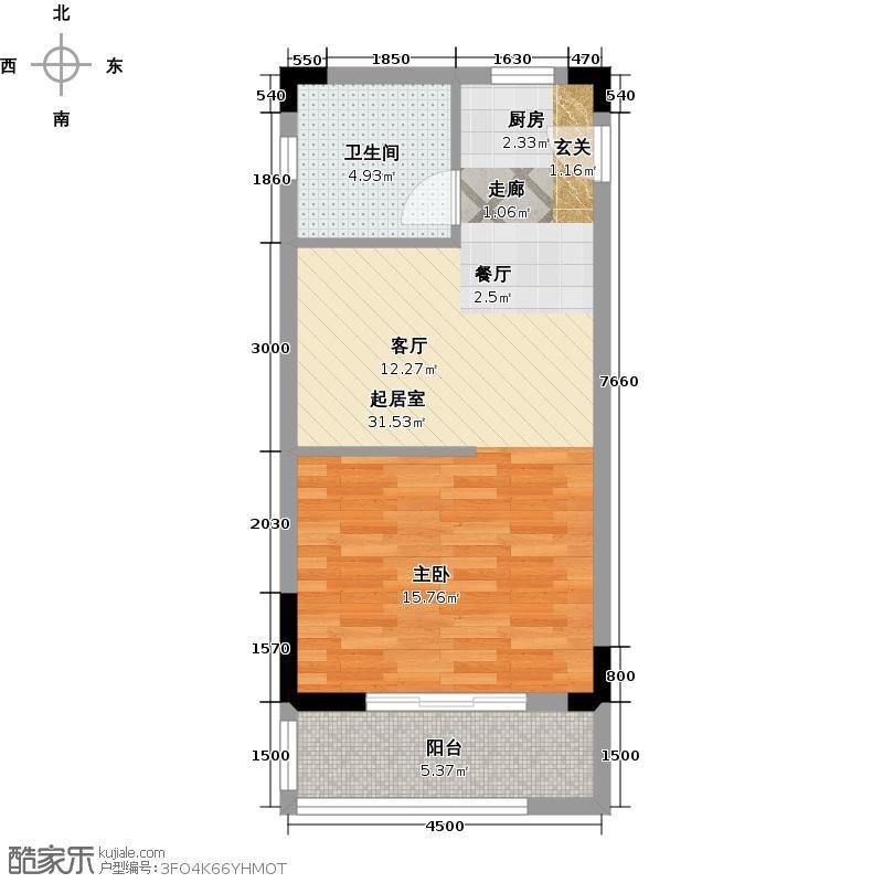 嘉信时代广场55.00㎡C户型1室1厅1卫