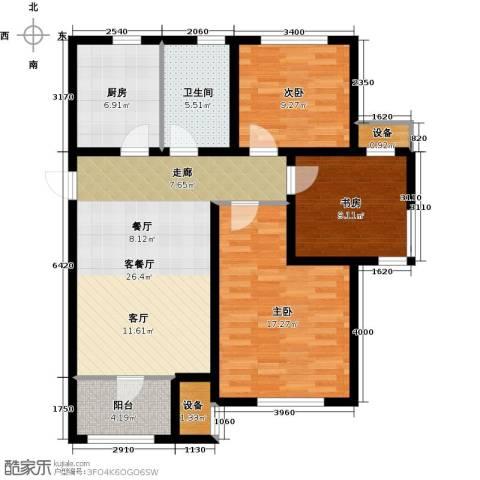 旭辉朗悦湾3室1厅1卫1厨92.00㎡户型图