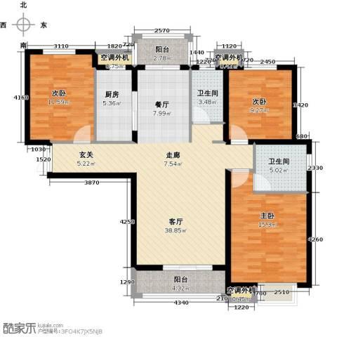 河北国际商会广场3室1厅2卫1厨125.00㎡户型图