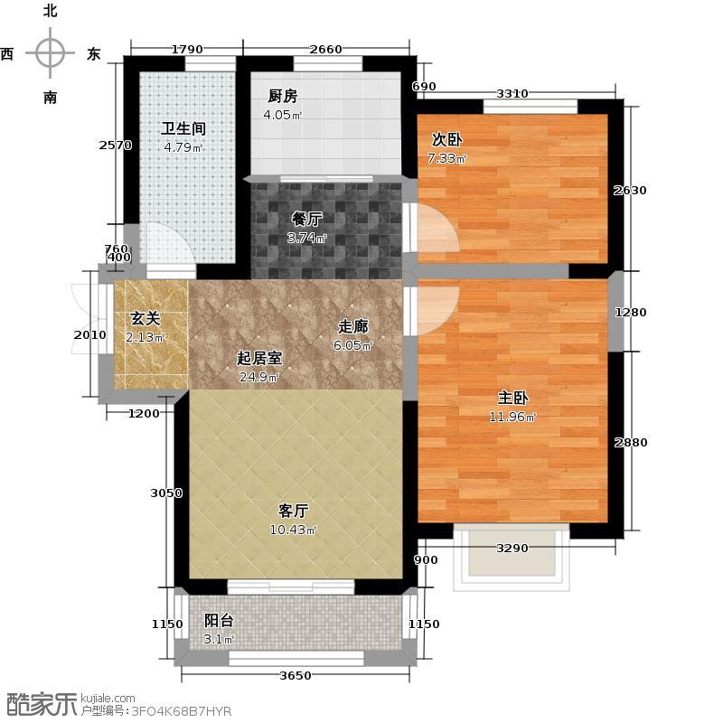 鑫隆嘉园89.00㎡2#C户型2室2厅1卫