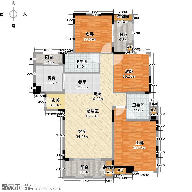 钱隆学府120.00㎡三室二厅二卫户型3室2厅2卫