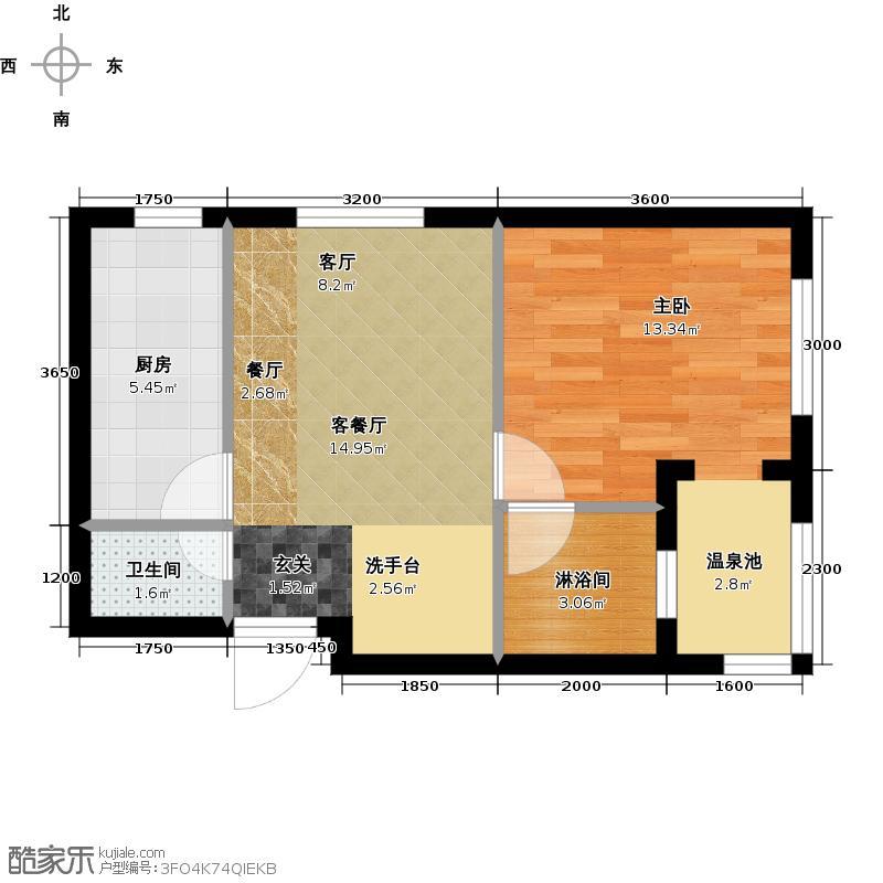 城建锦泉蓝湾61.00㎡A3-1 一室一厅一卫户型1室1厅1卫