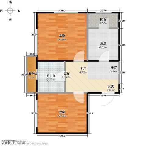 府上和平2室0厅1卫1厨65.00㎡户型图