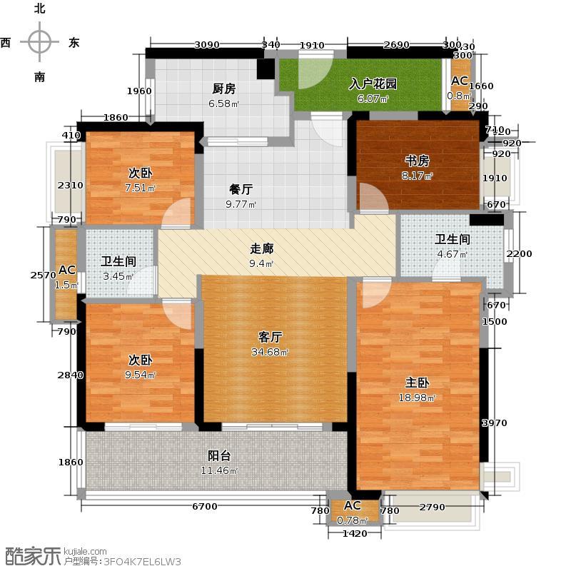 万科柏悦湾141.00㎡5、6、7、8栋02户型4室2厅2卫