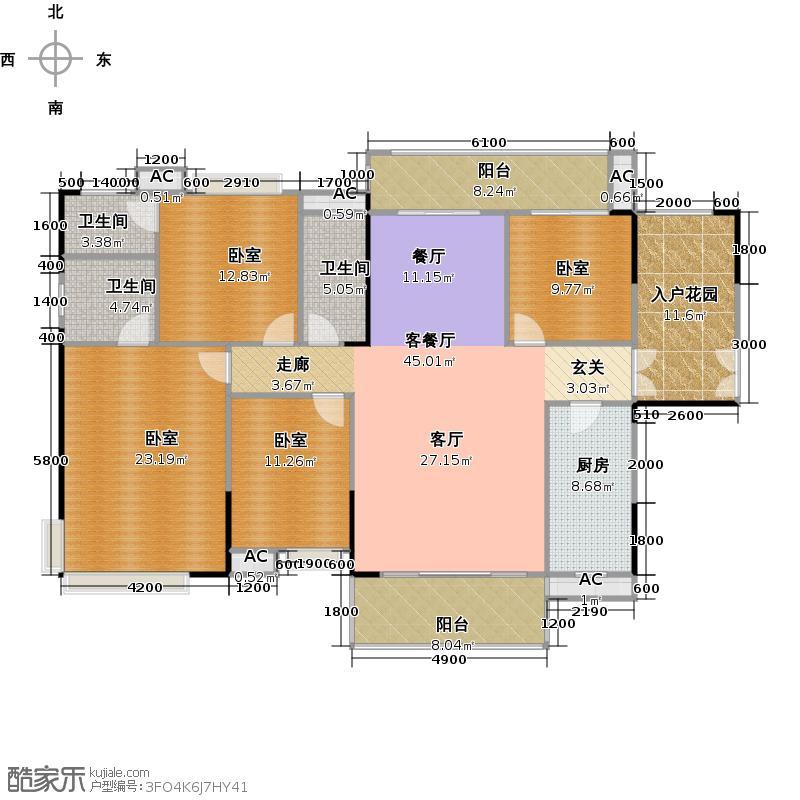 远洋启宸178.00㎡29栋01单位178平米四房两厅三卫户型4室2厅3卫