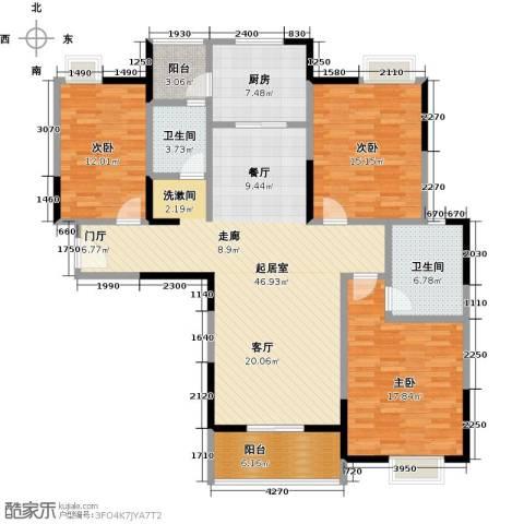 金地雄楚1号3室0厅2卫1厨133.00㎡户型图