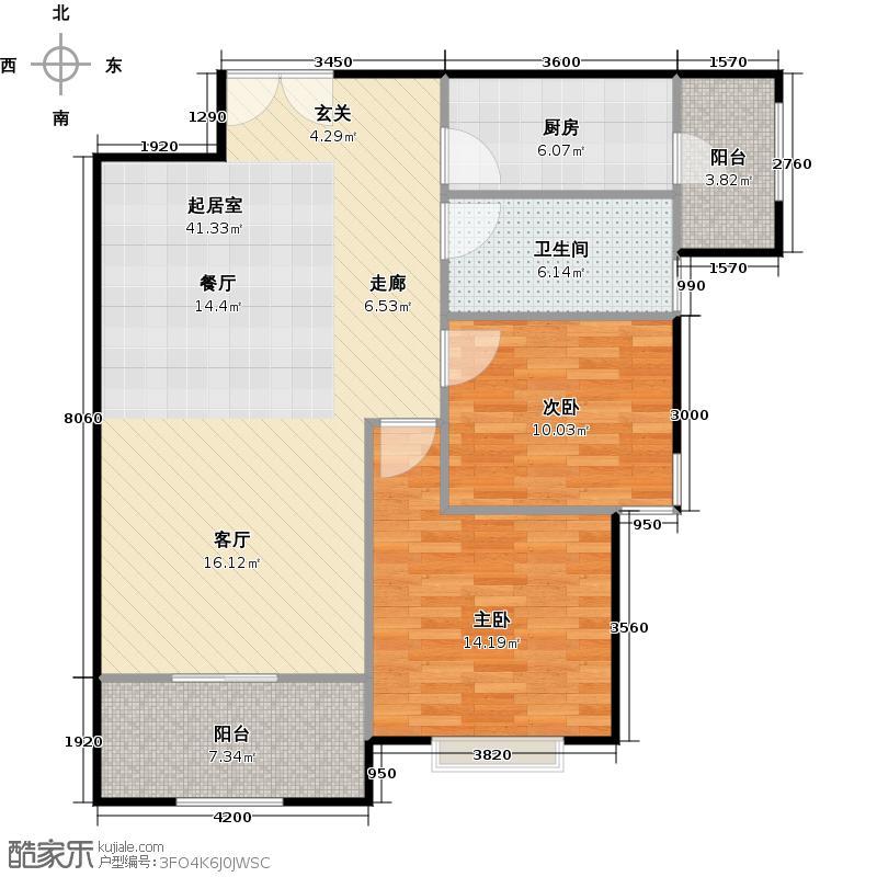 清华大溪地95.00㎡洋房GA-1户型两室两厅一卫户型