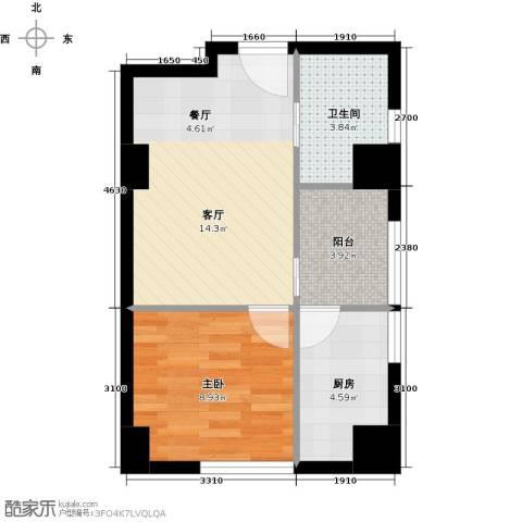 时代公馆1室1厅1卫1厨44.00㎡户型图