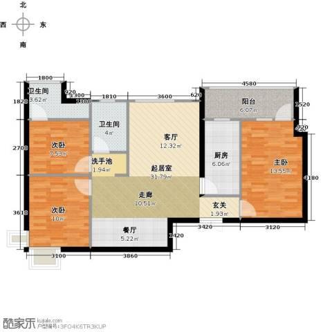鹏程金色城市3室0厅2卫1厨103.00㎡户型图