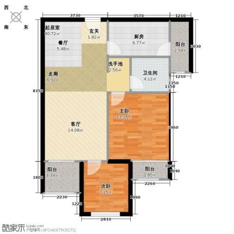 鹏程金色城市2室0厅1卫1厨75.00㎡户型图