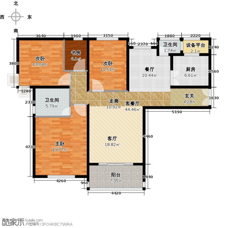 红星国际广场130.00㎡红星国际 A1户型图 三室两厅两卫 130平米户型3室2厅2卫