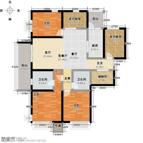 富力十号3室1厅2卫1厨170.00㎡户型图