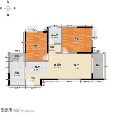 金地雄楚1号2室0厅1卫1厨89.00㎡户型图