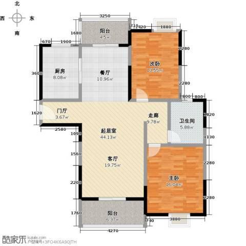 金地雄楚1号2室0厅1卫1厨110.00㎡户型图