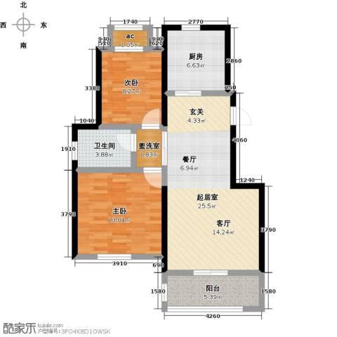 旭辉百合宫馆2室0厅1卫1厨76.00㎡户型图