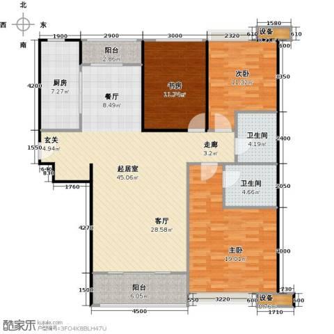 珠江东都国际3室0厅2卫1厨139.00㎡户型图