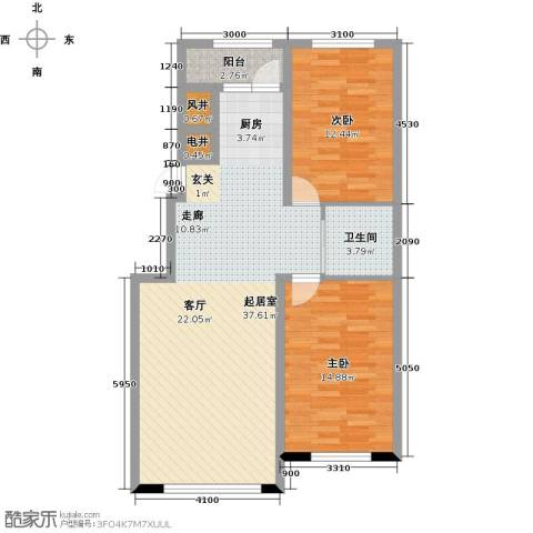 中航御湖天城2室0厅1卫0厨95.00㎡户型图