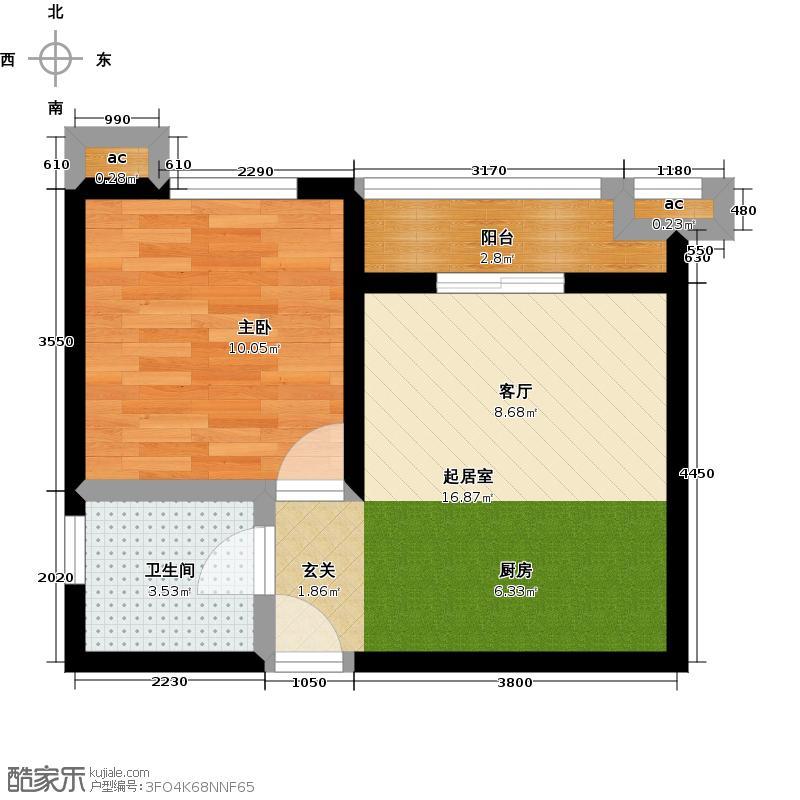 路劲御景城48.00㎡11号楼A户型约48平米一室一厅一卫户型